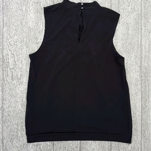Black mock neck sleeveless blouse